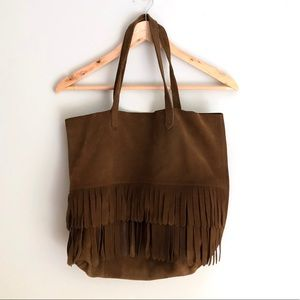 Madewell Brown Leather Suede purse with fringe